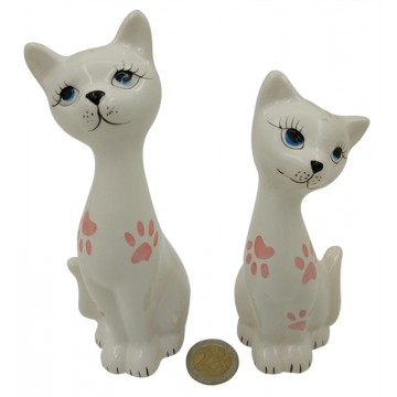 PAIR CERAMIC CAT