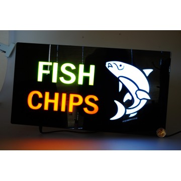LED FISH CHIPS SIGN