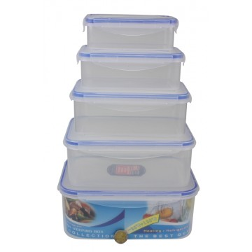 5PC RECT LOCK FOOD CONTAINER