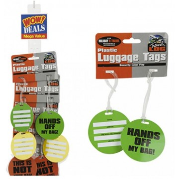 2PK NEON COMICAL PLAST LUGGAGE TAGS