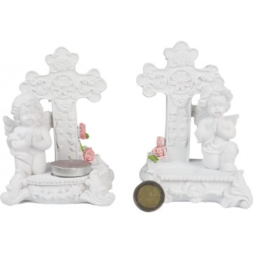 RESIN ANGLE CROSS CANDLE HOLDER