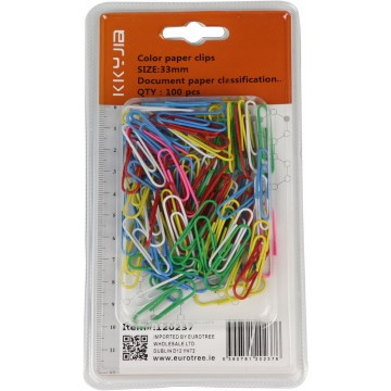 COLOR PAPER CLIPS 33MM 100PCS