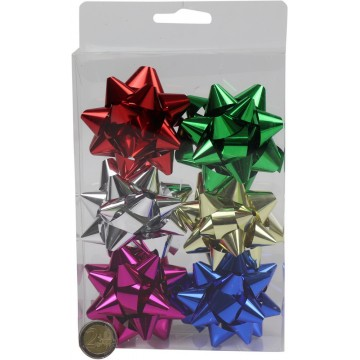 "3"" SHINY STAR BOWS 6PC"