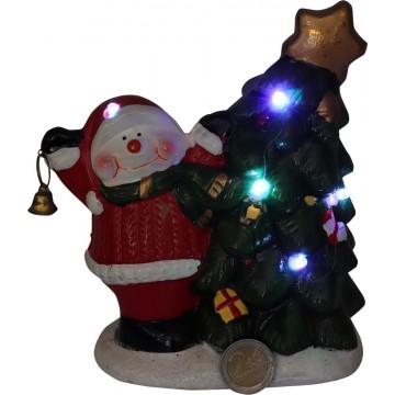 LIGHT UP XMAS TREE & SNOWMAN 16*9*18CM