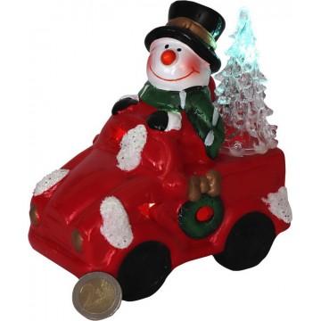 LIGHT UP SNOWMAN DRIVING CAR 14*9*16CM