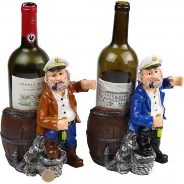 RESIN CAPTAIN WINE&WINE GLASS HOLDER 24*14*24CM
