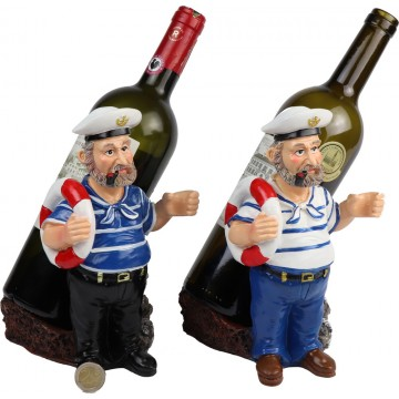 RESIN CAPTAIN WINE&WINE GLASS HOLDER 13*16*23CM