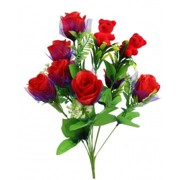 10HEAD RED ROSE WITH BEAR 44CM