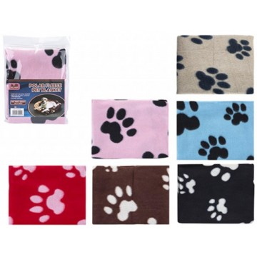 POLAR FLEECE PET BLANKET PAW DESIGN 70 X 73CM