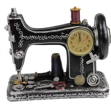 RESIN SEWING MACHINE W/CLOCK