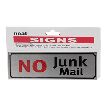 No Junk Mail Sign 17.7*5.6cm