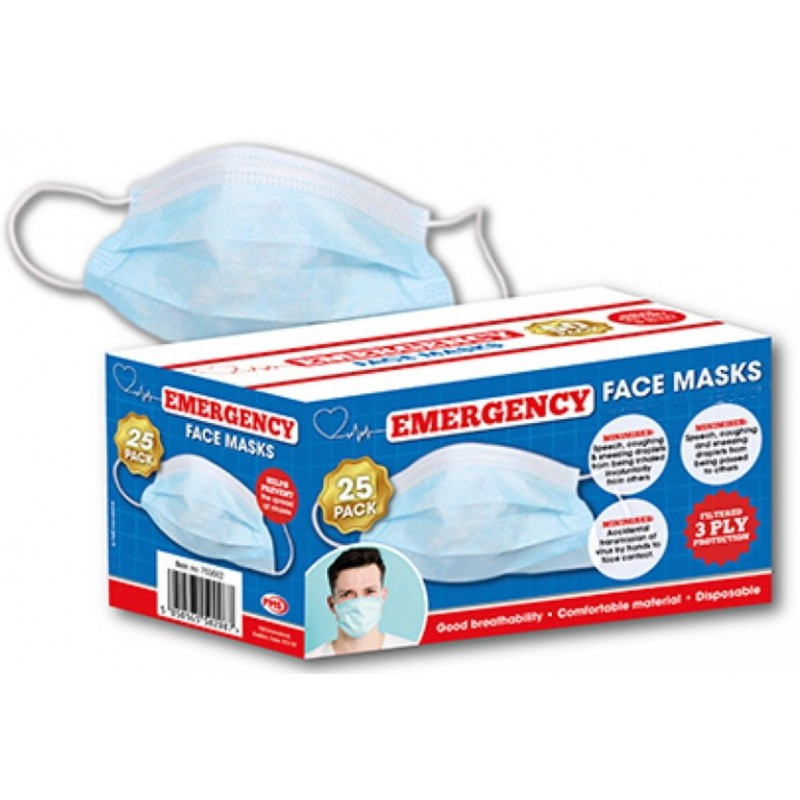 DISPOSABLE FACE MASKS PACK OF 25