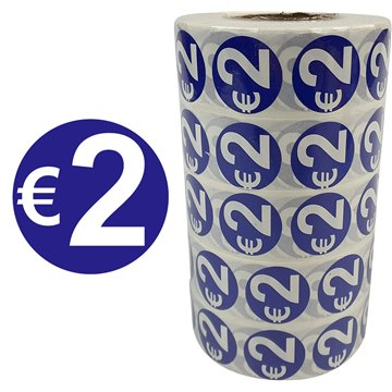 ф24mm €2 Price Sticker 1000pcs/Roll (5)