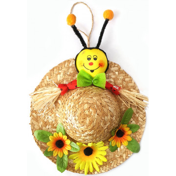 Bee Straw Hat 19X26cm (6)
