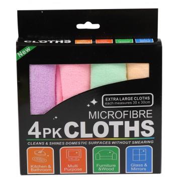 4PK MICROFIBRE CLOTHS