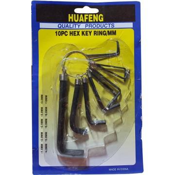 10pcs Hex Key Ring