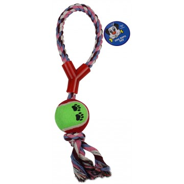 ROPE AND TENNIS DOG BALL